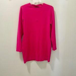 Kittenish Hot Pink XL Bodycon Long Sleeve Dress